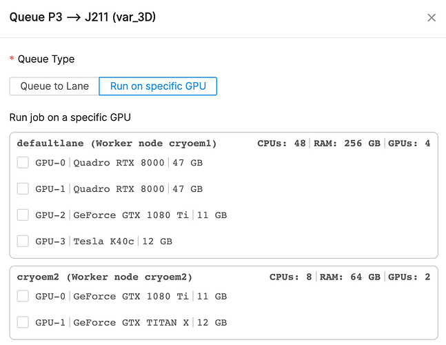 """Options available for """"run on specific GPU"""""""